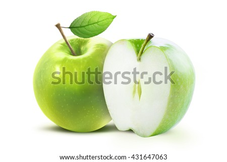 Green apple and half of green apple isolated on white background with clipping path. Two juicy ripe colored apples on a white background isolated with clipping path. - stock photo
