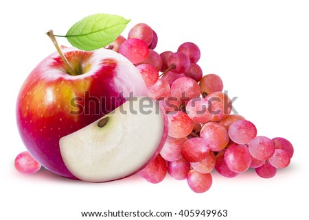 Green Apple and red grape on white background. Grape and apple with clipping path. Red apple with leave. Red apple with slice. Red grape and red apple composition. Grape and apple clipping path. - stock photo