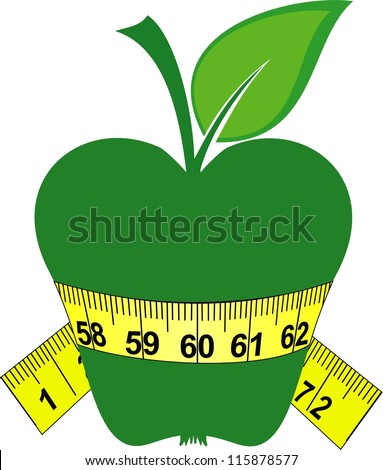 Green apple and tape isolated on a white background.  Illustration - stock photo