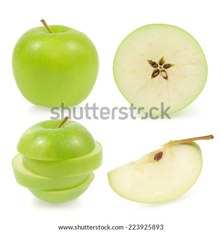 Green apple collection isolated on white background (set) - stock photo