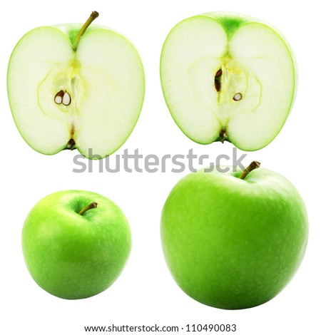 Green apple fruits isolated on a white background + Clipping Path - stock photo