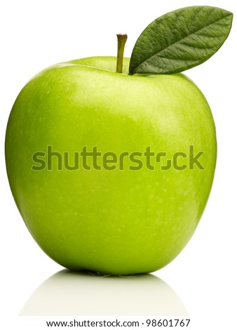 Green apple granny smith with leaf - stock photo