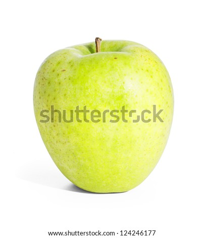Green apple. Isolated on white with clipping path. - stock photo