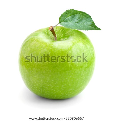 Green apple on white background - stock photo