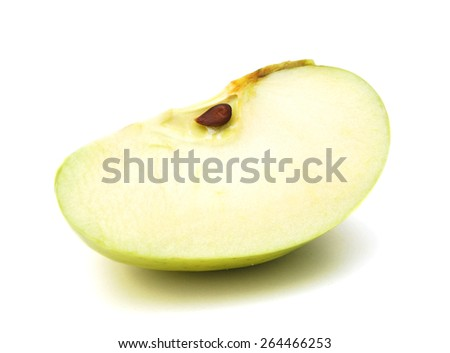Green apple. Slice isolated on white - stock photo
