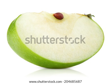 Green apple slice isolated on white background - stock photo