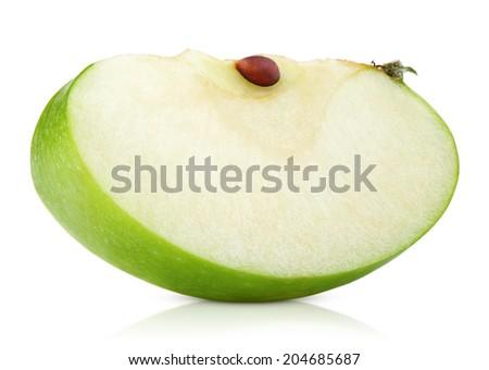 Green apple slice isolated on white background - stock photo