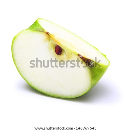 Green apple slice on white background - stock photo