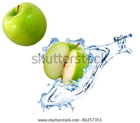 Green apple slices with water splash - stock photo