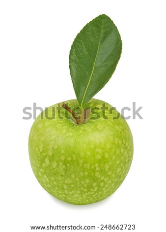 Green apple with leaf. Isolated on a white background - stock photo