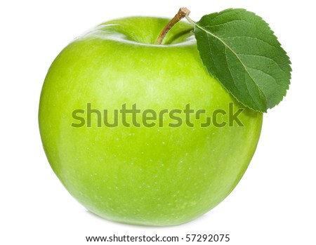 green apple with leaf on white background - stock photo