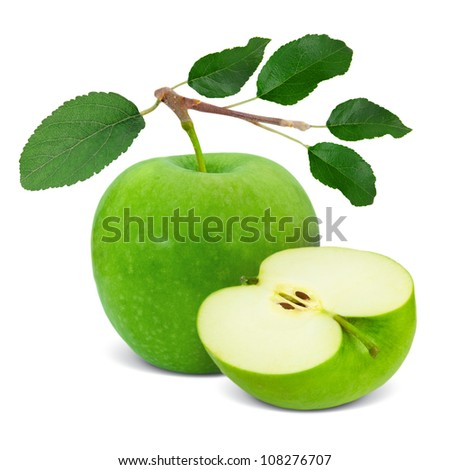Green apple with leaves and slice isolated on white - stock photo