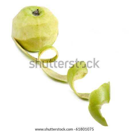 Green Apple with peelings isolated over white - stock photo