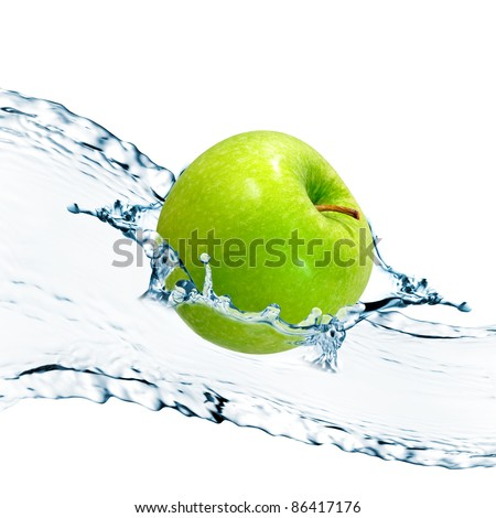 Green apple with water splash - stock photo