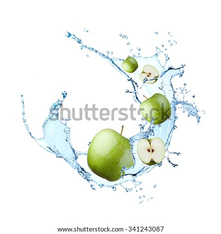 Green apple with water splash, isolated on white background - stock photo