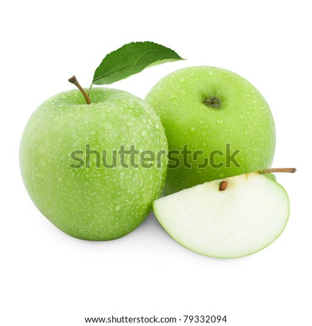 green apples and half of apple Isolated on a white background - stock photo
