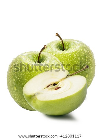 Green apples and slice isolated on a white background - stock photo