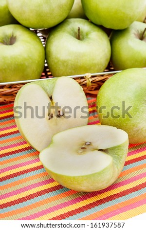 Green apples in a basket closeup - stock photo