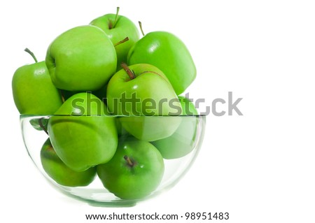 green apples in a glass bowl - stock photo