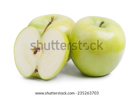 Green apples isolated on white background - stock photo