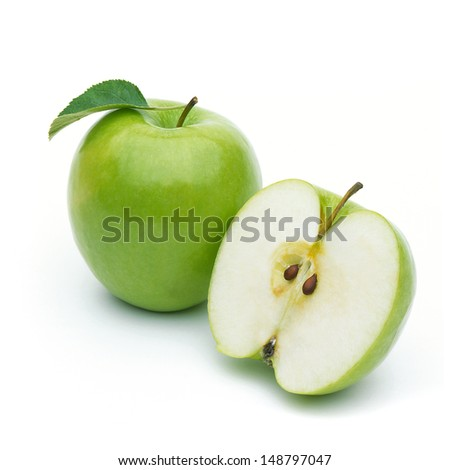 Green apples on white background - stock photo