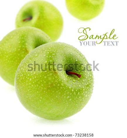 Green apples with drops - stock photo
