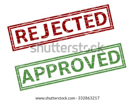 Green approved and red rejected stamps. Raster illustration - stock photo