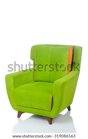 Green armchair isolated on the white - stock photo