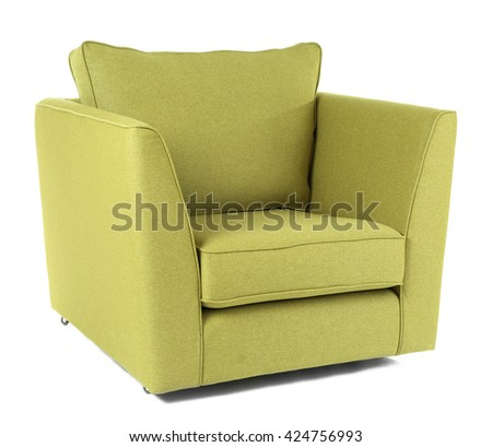 Green armchair isolated on white - stock photo