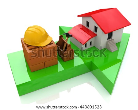 Green arrow and small house - construction concept in the design of the information related to the construction. 3d illustration - stock photo