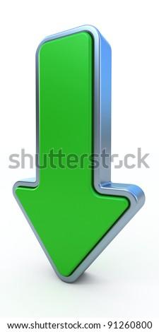Green arrow - 3d render - stock photo