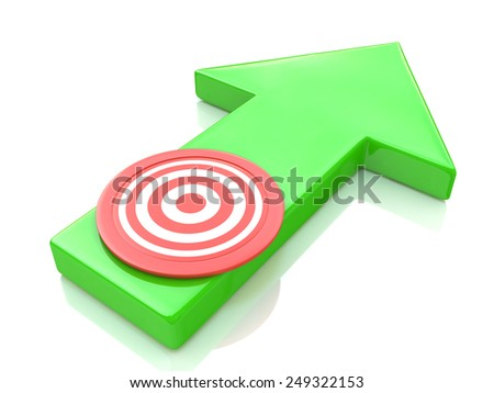 Green arrow direction to the target  - stock photo