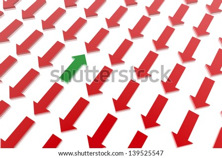Green arrow in contrast of many red arrows - stock photo