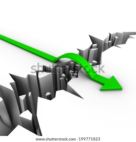 green arrow jumps over an obstacle - stock photo