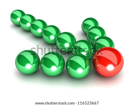 Green arrow of the balls with the red leader in front. On white background. Business and Sports concept - stock photo