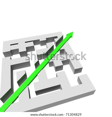 green arrow passes through the cut in a maze. 3d computer modeling - stock photo