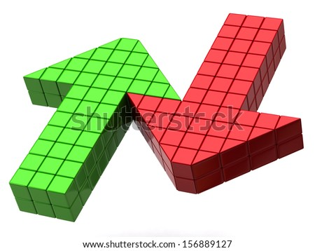 Green arrow up and red arrow down - stock photo