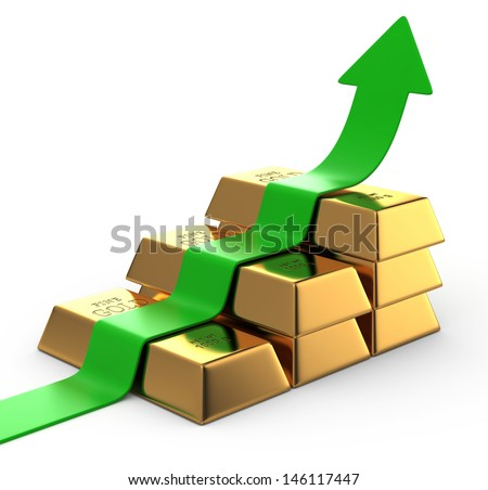 Green Arrow up with Gold Bars - stock photo