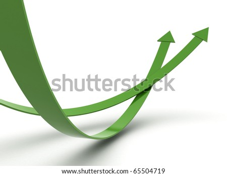 Green arrows illustration 3d render - stock photo