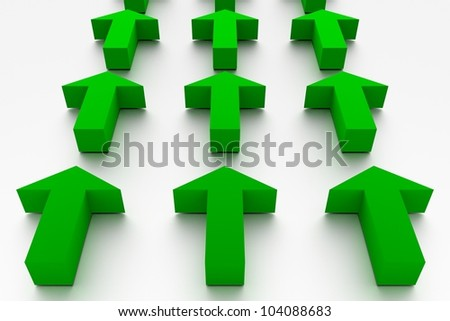 Green arrows in 3D marking the same direction - stock photo