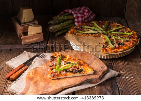green asparagus pizza - stock photo