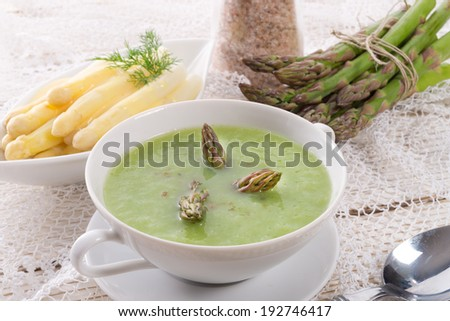 Green asparagus soup - stock photo