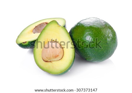 green avocados isolated on the white background - stock photo