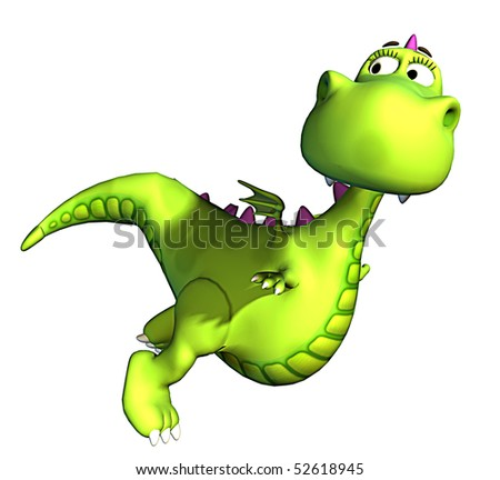 green baby dragon flying - stock photo