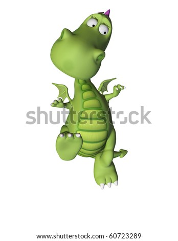 green baby dragon scared jump - stock photo
