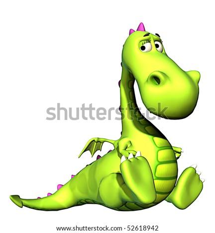 green baby dragon setead - stock photo