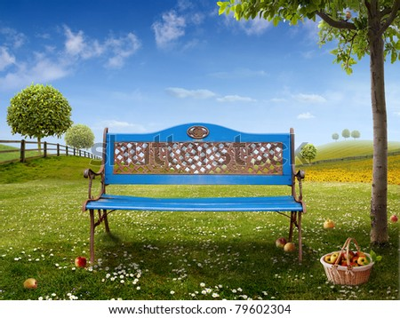 Green Background with blue Bench for your Art - stock photo