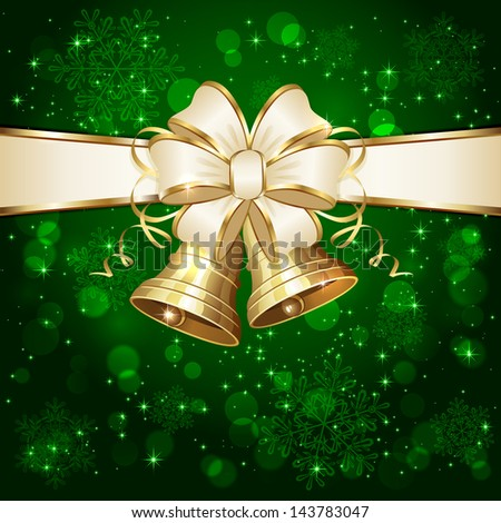 Green background with bow, Christmas bells, snowflake, and stars, illustration. - stock photo