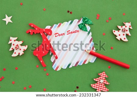 Green background with decorations for christmas time - stock photo