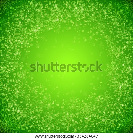 Green background with  snowflakes. Illustration for  posters, icons, greeting cards, print and web projects.Raster version - stock photo